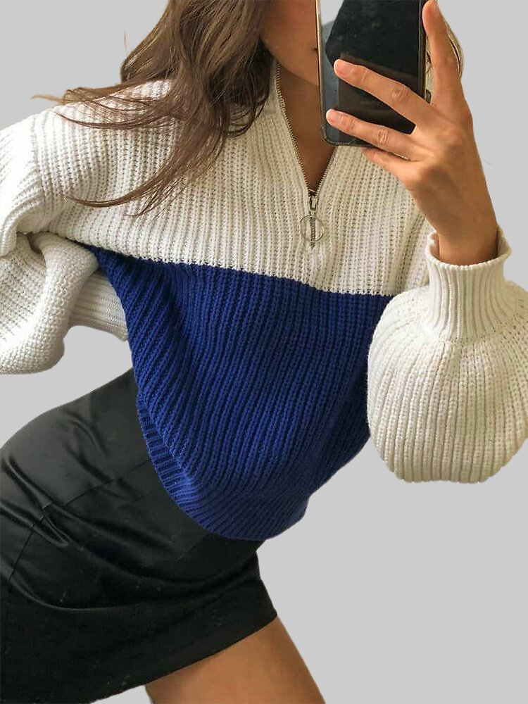 Casual Patchwork Zipper-neck Latern Sleeve Knitted Plus Size Sweater