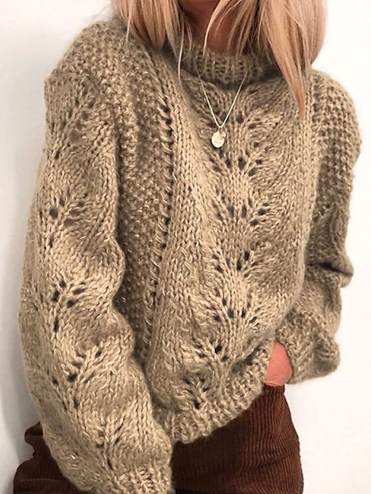 Solid Color Loose Knit Pullover Sweater For Women