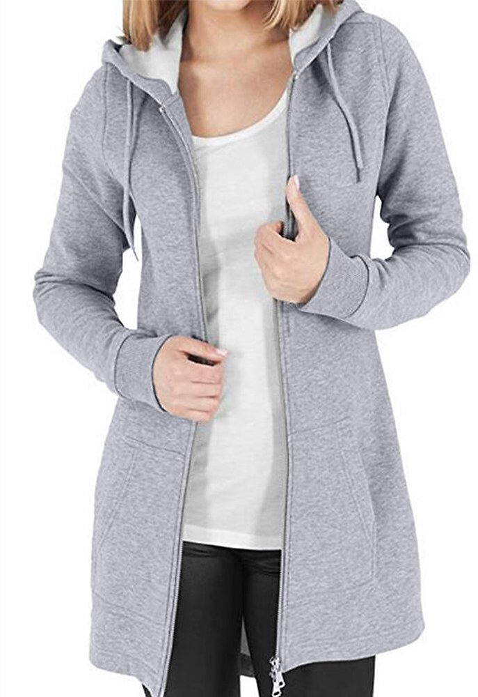 Casual Solid Color Drawstring Zipper Hooded Plus Size Coat