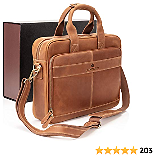 Luxorro Leather Briefcases for Men | Soft, Full Grain Leather Laptop Bag for Men W/Hand Stitching That Will Last A Lifetime | Slim But Spacious | Fits 15-inch Laptops, Light Brown