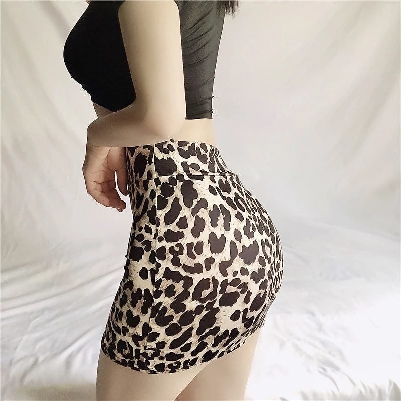 Tight Party See Through Skirts Micro Mini High Waist Skirts Sexy Leopard Snake Pattern Skirts Casual Package Hip Short Skirts