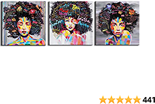 FREE CLOUD Crescent Art 3 Pcs Framed Abstract Pop Black Art African American Wall Art Afro Woman Painting On Canvas Print Wall Picture for Living Room Bedroom Wall Decor …