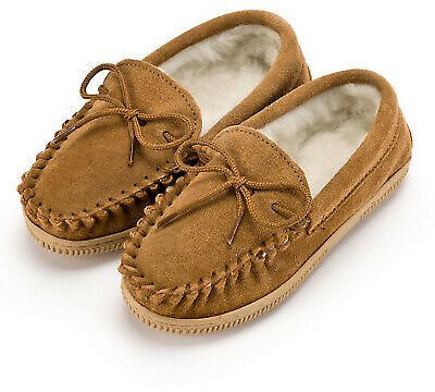 Unisex Childs Moccasin Slippers with Rubber Sole Boys and Girls Size UK9 to UK2