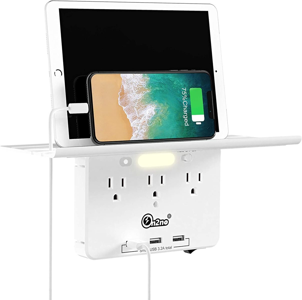 Socket Outlet Shelf -ON2NO Wall Outlet Extender with All Around Built-in Shelf, Multi Plug Outlet Surge Protector with Smart Nig