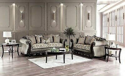 Furniture of America Justina Sofa and Loveseat Living Room Set Made in USA