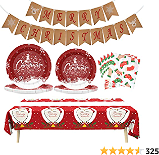Christmas Decorations Christmas Party Supplies Christmas Paper Plates and Napkins XMAS Disposable Dinnerware Set Christmas Party Decoration Christmas Ornaments Nightmare Before Christmas, Serves 24