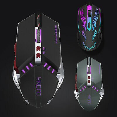 Gaming Mouse 4/7 Button USB Wired LED Breathing Fire Button 3200 DPI Laptop PC