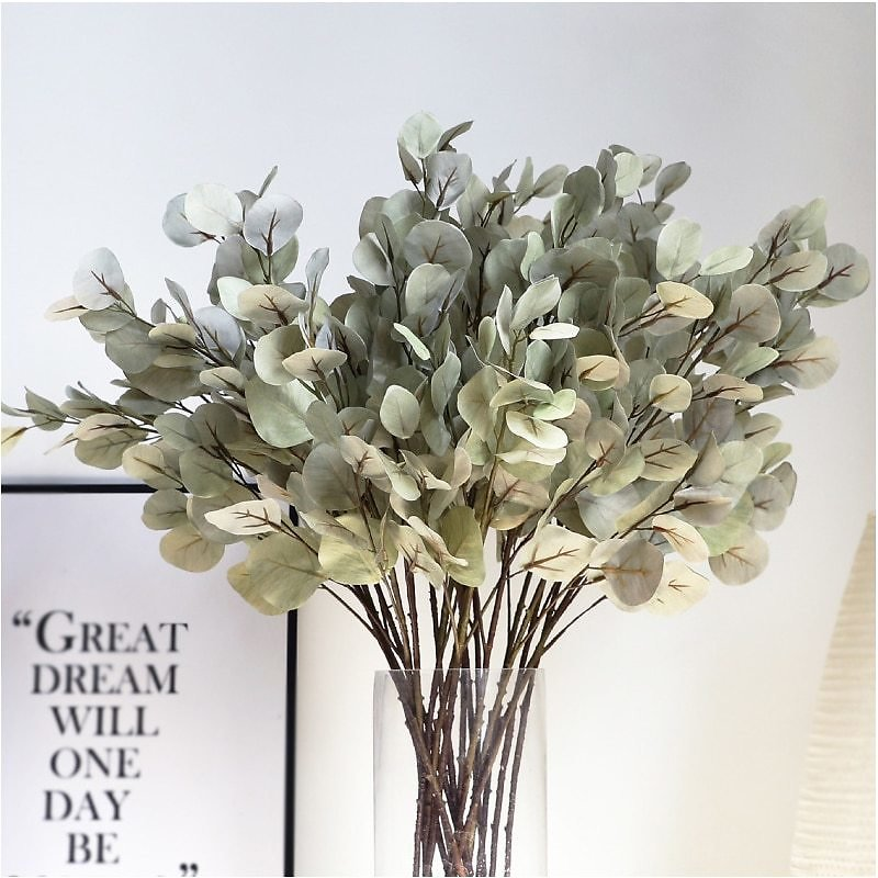 US $3.95 21% OFF|Silk Leaf Eucalyptus Artificial Green Leaves For Wedding Decoration DIY Wreath Gift Scrapbooking Craft Apple Plants Fake Flower|Artificial & Dried Flowers| - AliExpress