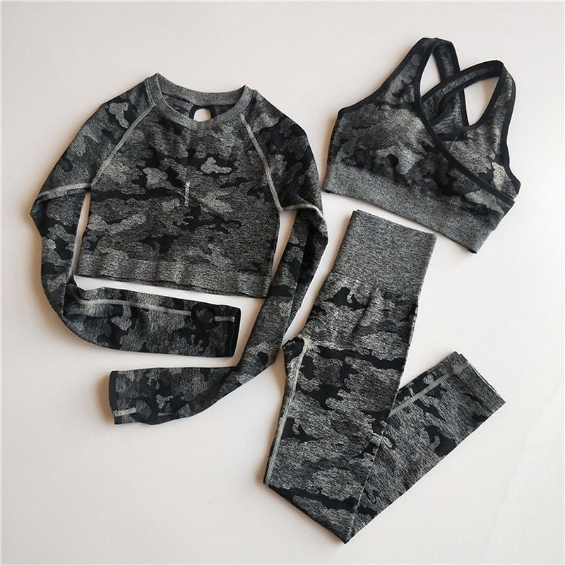 US $13.76 25% OFF|Seamless Fitness Yoga Set Tracksuit Women Sports Suits Gym Clothing Crop Top Camouflage Training Tights Fitness Yoga Clothes|Yoga Sets| - AliExpress