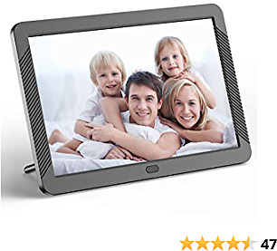 Digital Picture Frame 8 Inch HD 1920X1080P with Remote Control, Digital Photo Frame 16:9 IPS Display Auto Slideshow Zoom Image Stereo Video Music Player Support USB SD Card 180° View Angle (Black)