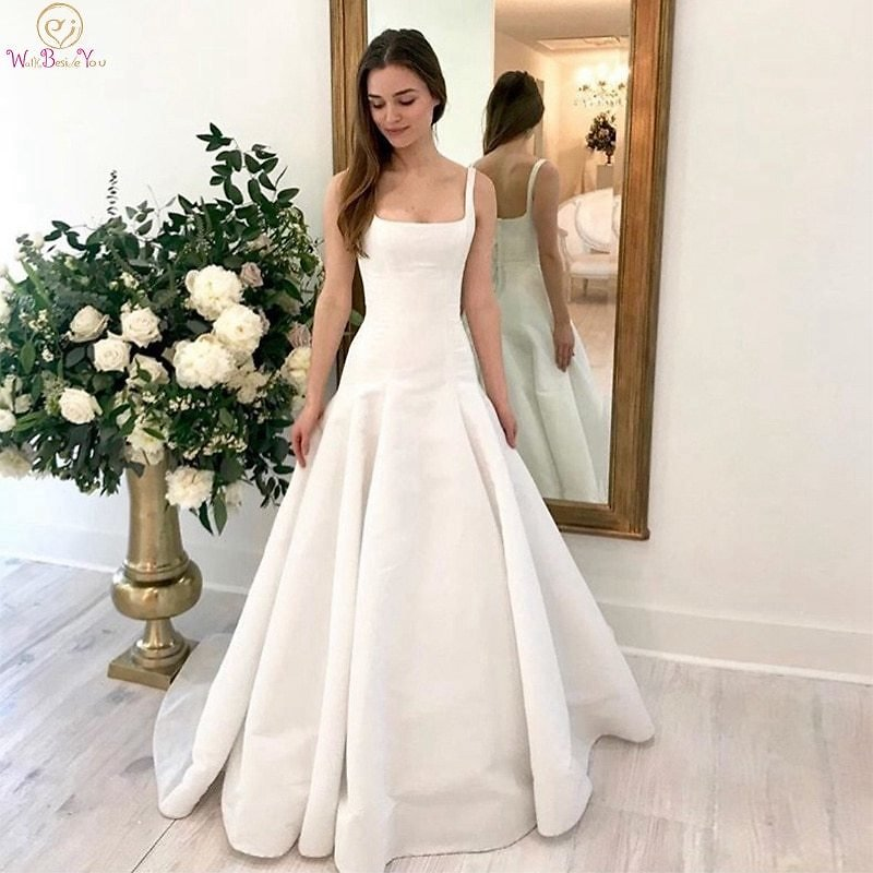 US $58.43 35% OFF|Romantic Spaghetti Straps Bridal Gowns Ivory A Line Square Collar Neck Wedding Dresses 2020 New Simple Sleeveless Robe De Mariee|Wedding Dresses| - AliExpress