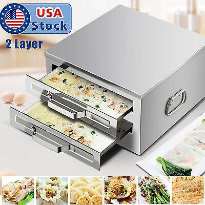 USA Stainless Steel 2 Layer Rice Noodle Roll Steamer, Rice Roll Maker Machine