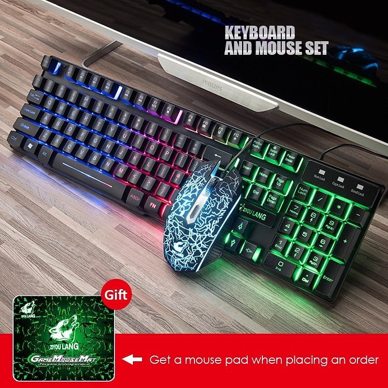 US $23.87 46% OFF|Gaming Keyboard And Mouse Combos with Colorful LED Backlit Rainbow Wired Computer Keyboard and USB Mouse Set for PC Laptop Gift|Keyboard Mouse Combos| - AliExpress
