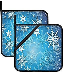 N\ A Pot Holders Set of 2 for Kitchen Blue Christmas Winter Snowflakes Potholders with Pockets Heat Resistant Hot Pads Cotton Large Oven Heating Pad Trivets for Hot Pots and Pans Tea Cooking