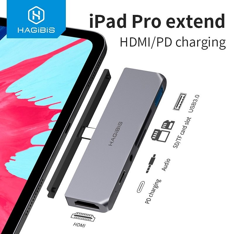 USB C HUB TYPE-C to HDMI Adapter 3.5mm Audio PD Charging USB 3.0 Port Converter 4K HDTV Hub for IPad Pro Macbook Laptop