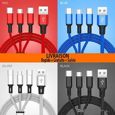 Cable 3 in 1 Usb Charger Iphone Samsung X Xs Xr/8/7 Type C/micro Usb/ios