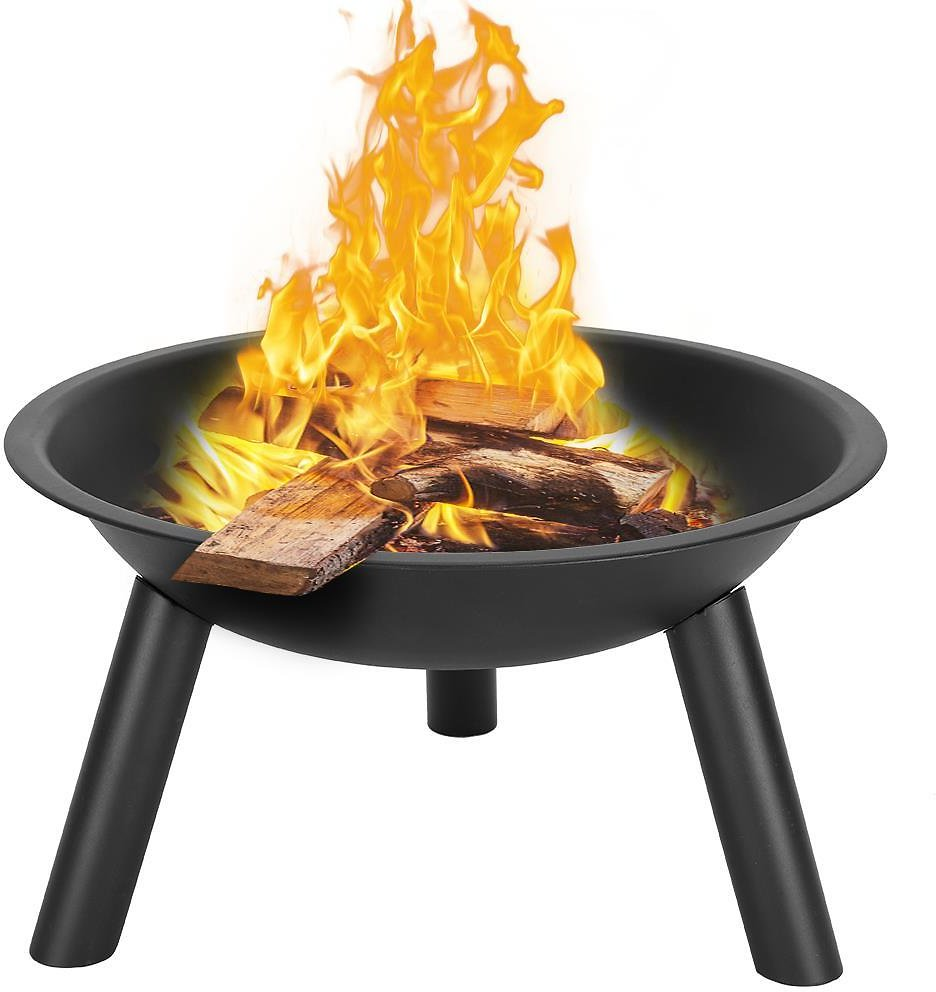 Ktaxon 22-Inch BBQ Grill Portable Wood Burning Fire Pits Iron Backyard Patio Garden Round Fire Pit Cooking Grill, Black
