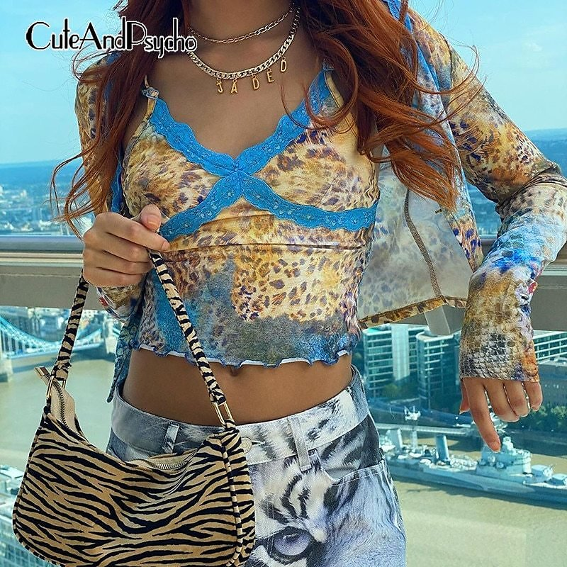 US $7.39 40% OFF|Lace Patchwork Y2k Aesthetic Cropped Tops for Women Leopard Printed Sexy Bodycon Tops Vintage Club Sleeveless Tees Cuteandpsycho|Camis| - AliExpress