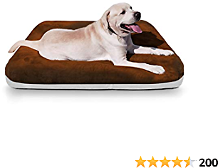 Magic Dog Large Dog Bed Crate Pad Mat Orthopedic Pet Beds 39 Inch Washable Anti Slip Dog Sleeping Mattress with Removable Cover, Dark Brown L