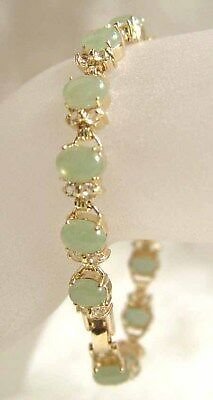 7.5Inch Natural Green Jade Gold Plated Fortune Lucky Link Bracelet Women Jewelry