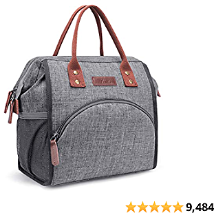 LOKASS Lunch Bag Insulated Lunch Box Wide-Open Lunch Tote Bag Large Drinks Holder 2020