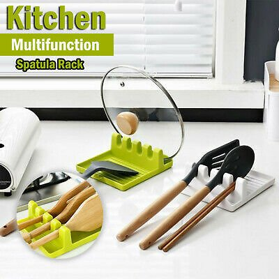 Silicone Spoon Rest Utensil Spatula Holder Heat Resistant Kitchen Cooking Tool