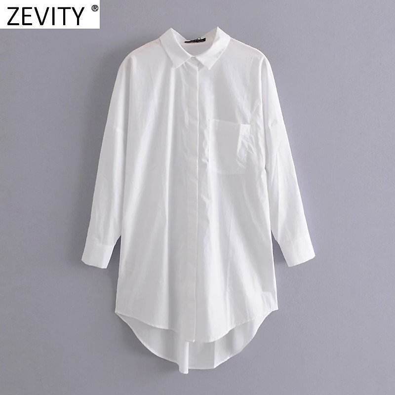 US $10.94 25% OFF Zevity New Women Simply Pocket Patch Casual Long Blouse Ladies Long Sleeve Business Shirt Chic Femme Breasted Blusas Tops LS7346 Blouses & Shirts  - AliExpress