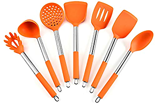 Anchor1 Silicone Kitchen Cooking Utensil Set, 7PCS Kitchen Utensils Spatula Set with Stainless Steel for Nonstick Cookware, BPA Free Non Toxic Cooking Utensils, Kitchen Tools Gift (Color : Orange)