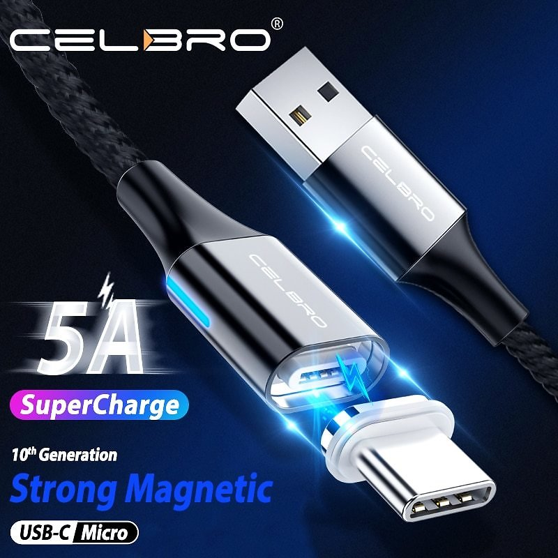 US $2.35  5A Magnetic Cable Type C Cable Super Fast Charging For Huawei P30 Pro P20 Lite Samsung S20 Ultra Microusb Magnet Usb Kabel Cavo Mobile Phone Cables  - AliExpress