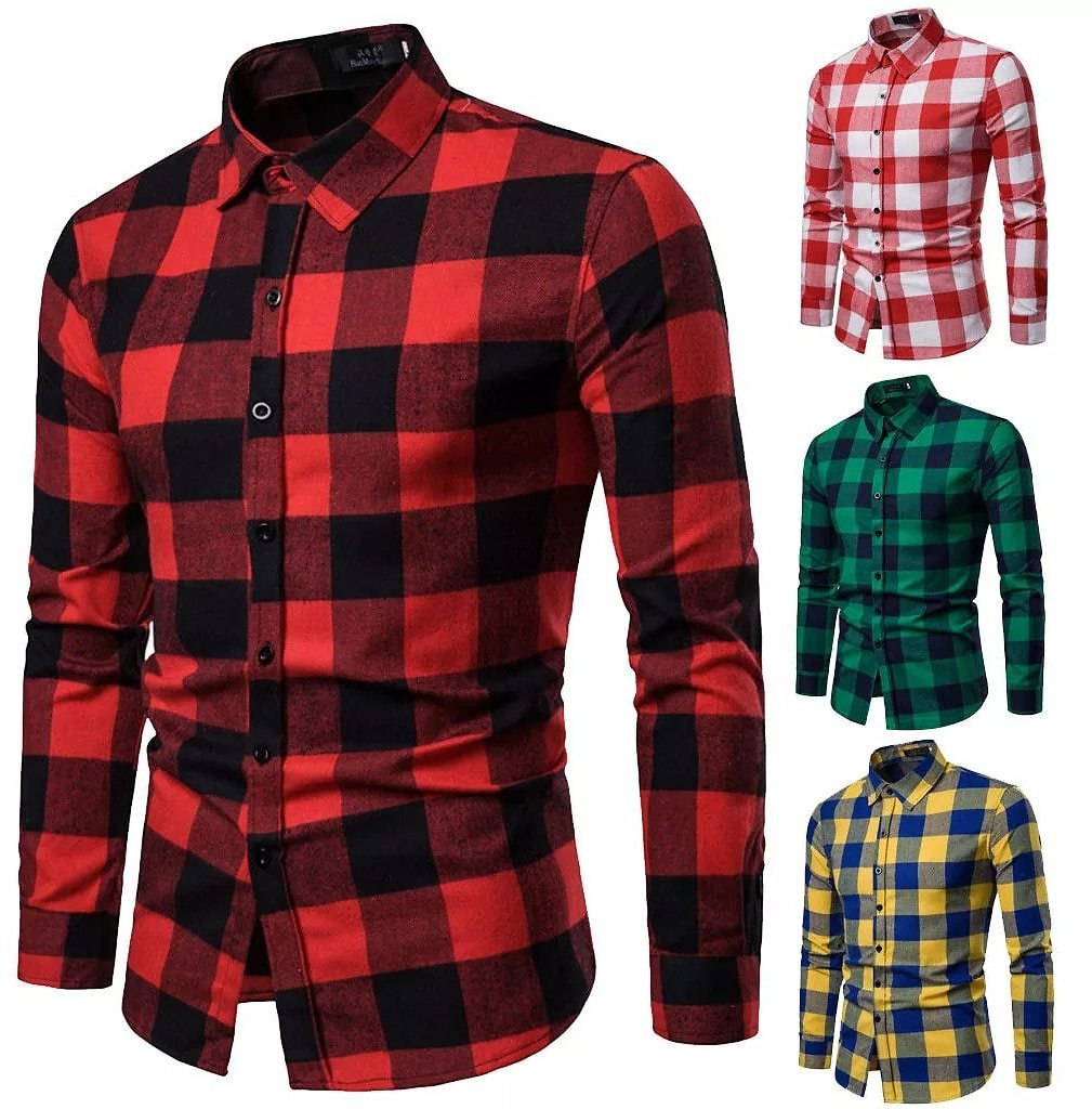 Men's Warm Plaid Shirts Flannel Long Sleeve Formal Shirt Tops Outfit Brushed Cotton Casual Tops Flannel Slim Fit Business