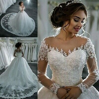 Vintage Wedding Dresses Beading Long Sleeves A Line White Ivory Bridal Gowns New