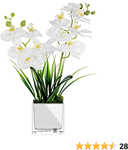 Hugo Décor Artificial Orchid – 14 Inch Fake Orchid for Home Décor – White Artificial Orchid Flowers – Highly Realistic Flower Arrangement – No Watering – Perfect Decorative Plant for Table, Home