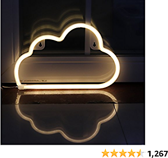 LED Neon Signs Cloud Wall Decorative Night Light for Bedroom Girls' Kids Room Home Décor Neon Light Battery Powered and USB Plug(NECLD)