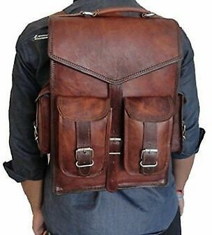 Goat Leather Bag Backpack Laptop Rucksack Men Genuine Vintage S Brown Travel New