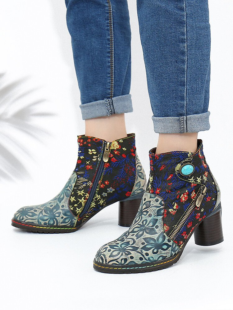 SOCOFY Folkways Flowers Embroidery Printing Leather Side Zipper Non Slip Ankle Boots