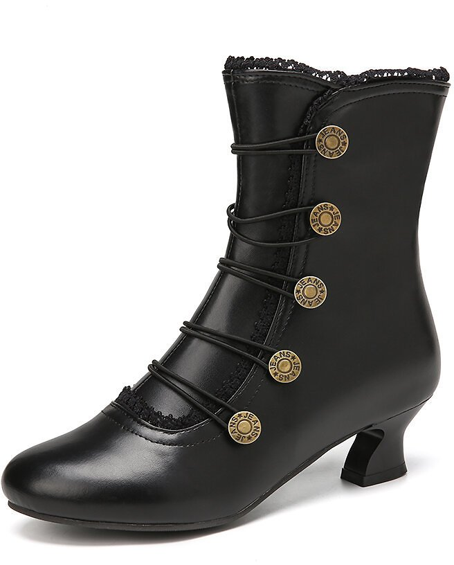 Women Solid Color Synthetic Leather Splicing Comfy Wearable Side Zippers Heel Short Boots