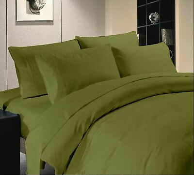 King Olive Solid 4 Piece Bed Sheet Set 1000 Thread Count 100% Egyptian Cotton