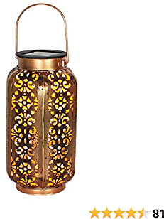 Petrala Solar Lantern Lights Outdoor Vintage Metal Hanging Lanterns 7 Lumens Copper Brown with Handle for Garden Patio Table Christmas Decoration Gifts
