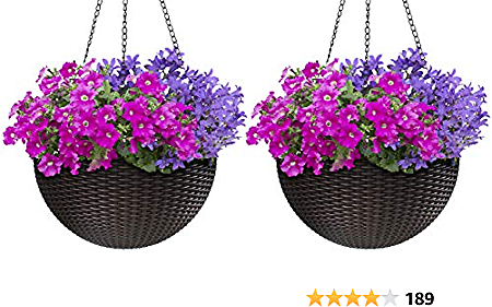 Sorbus Hanging Planter Round Self-Watering Basket, Resin Woven Wicker Style, Great for Home, Garden, Patio - Espresso Brown (Large, 2-Pack)