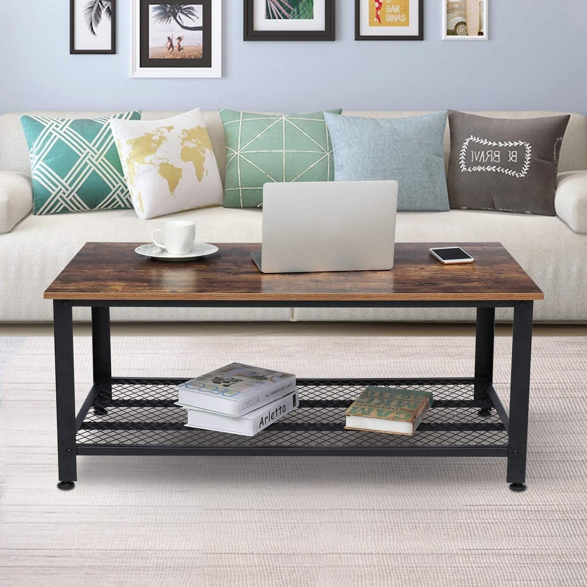 Industrial Coffee Table with Storage Drawers for Living Room Cocktail End Tables Wood Furniture with Metal Frame
