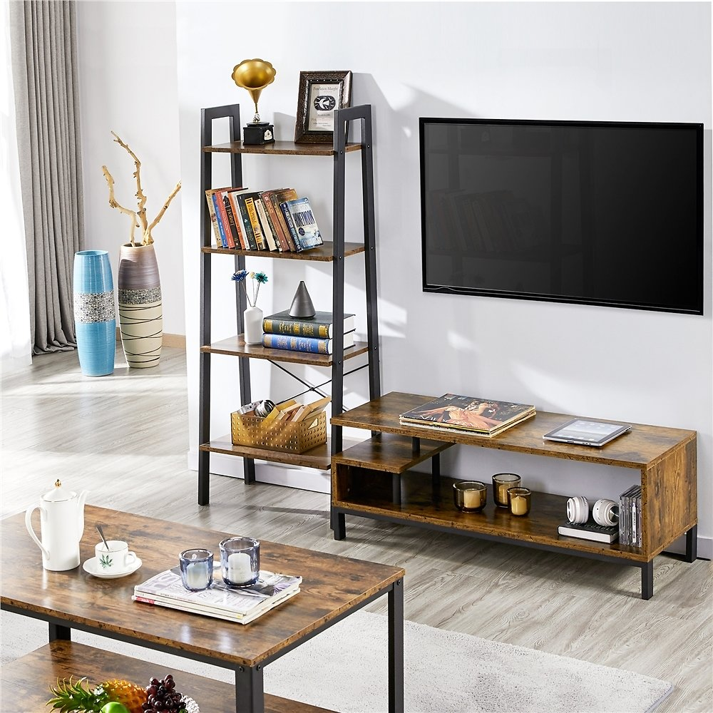 Topeakmart Wood Elegant TV Stand TV Console Table Free Standing Cabinet with Metal Supports, Rustic Brown