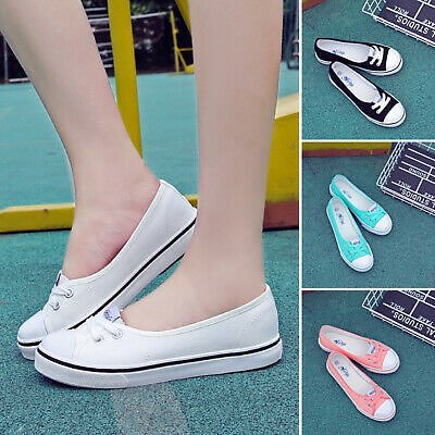 Women Canvas Shoes Comfy Loafers Summer Flats Slip On Pumps Casual Office Shoes