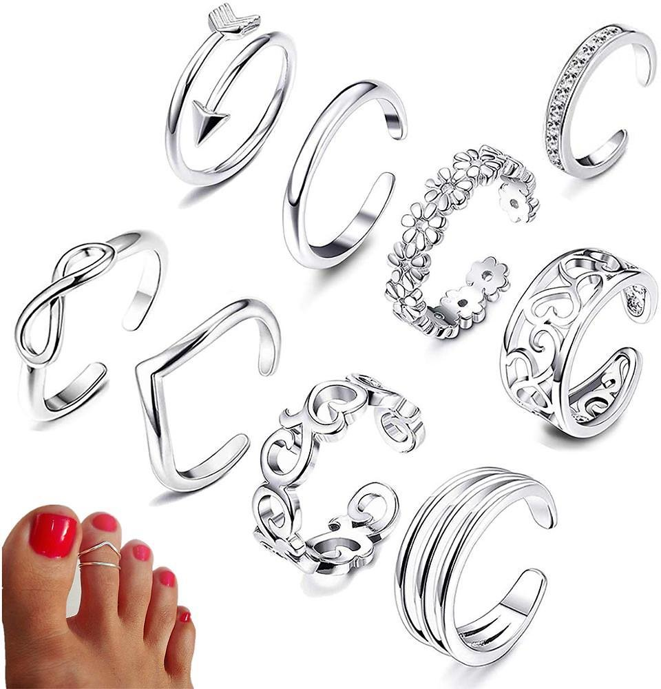 US $3.98  9PCS Summer Beach Vacation Knuckle Foot Ring Open Toe Rings Set for Women Girls Finger Heart Ring Adjustable Jewellery Wholesale Rings  - AliExpress