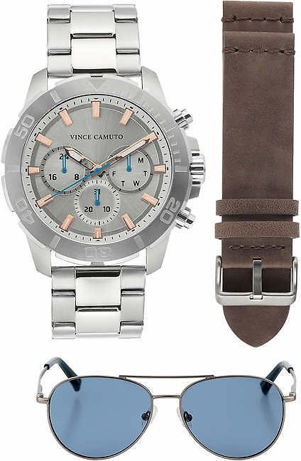 Vince Camuto Chronograph Stainless Steel Men's Watch & Sunglass Set