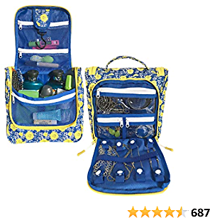 WAYFARER SUPPLY Toiletry Bags for Women with Travel Jewelry Organizer Fits Full Sized Travel Accessories, Blue and Yellow Flowers