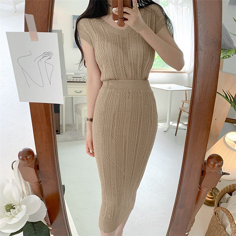 US $19.17 29% OFF|New Arrival Korean Office Ladies Knitted Women Sexy Pullover Tops + Midi Sheath Skirts Female Hollow Out Knit 2pcs Set Suits|Women's Sets| - AliExpress