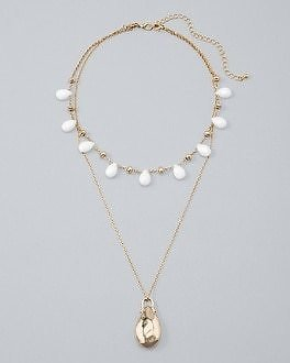 White House Black Market Convertible Two-Row Pendant Necklace with White Jade