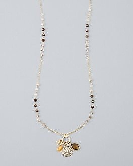 White House Black Market Convertible Charm Necklace with Aventurine
