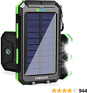 Solar Charger 20000mAh YOESOID Portable Solar Power Bank Outdoor Waterproof Camping External Backup Battery Pack with Dual USB Ports 2 LED Light Carabiner and Compass, Compatible Most Smart Phones