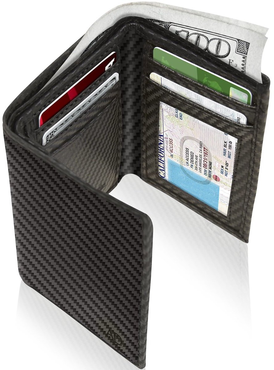Genuine Leather Trifold Wallets For Men - Mens Trifold Wallet With ID Window Gifts For Men RFID Blocking
